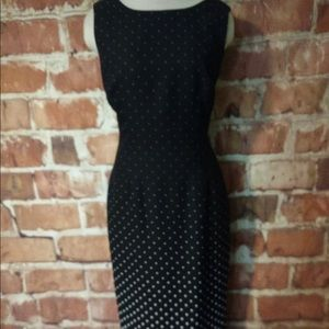 Maggy London black and white polka dot dress.